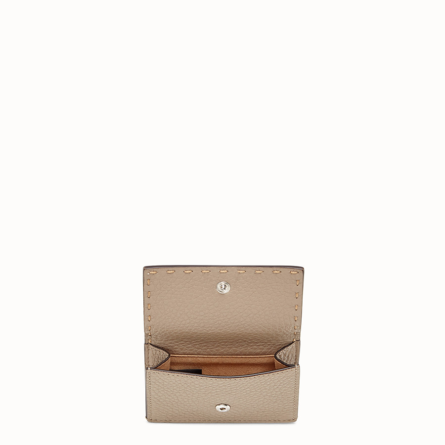 FENDI MICRO TRIFOLD - Beige leather wallet - view 3 detail