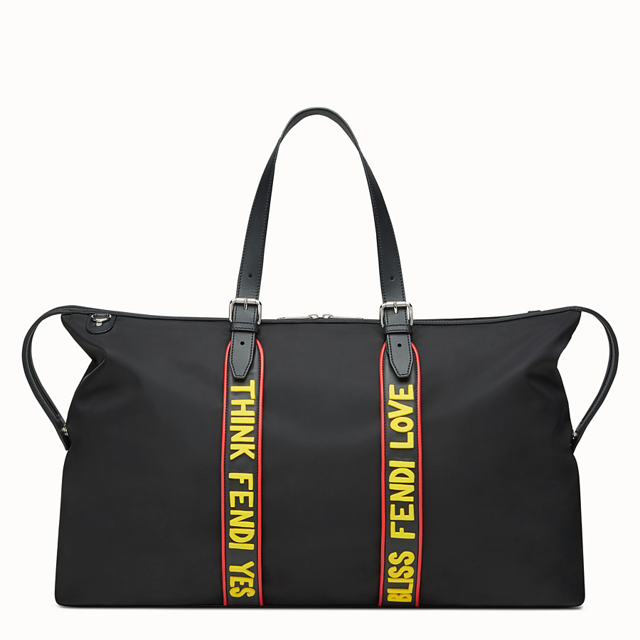 FENDI DUFFEL BAG - Travel bag in black nylon and leather - view 1 detail