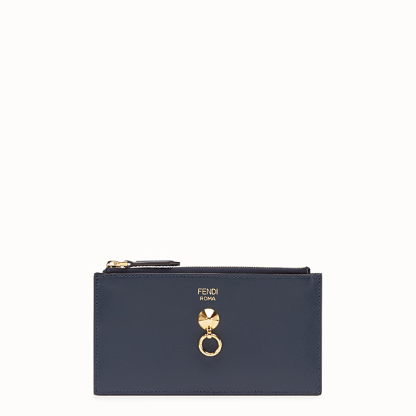 FENDI CARD POUCH - Blue leather pouch - view 1 small thumbnail