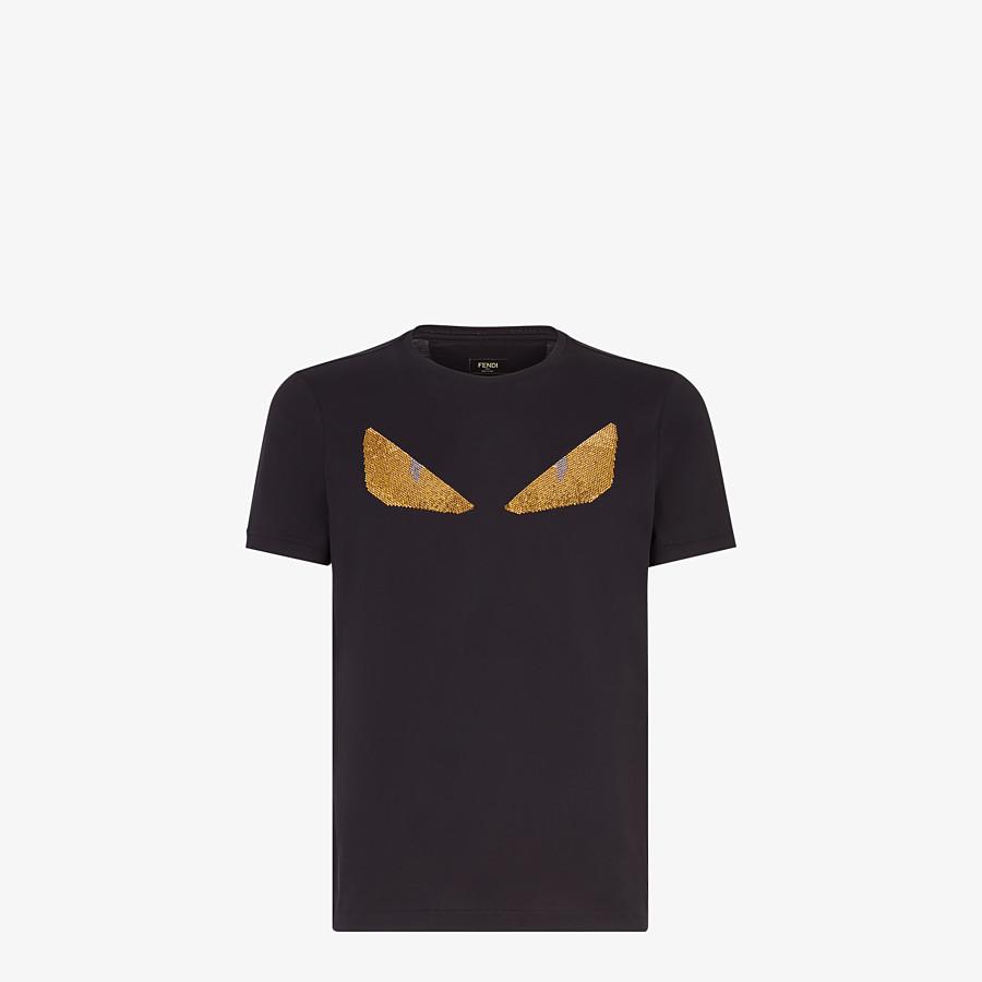 FENDI T-SHIRT - Black cotton T-shirt - view 1 detail
