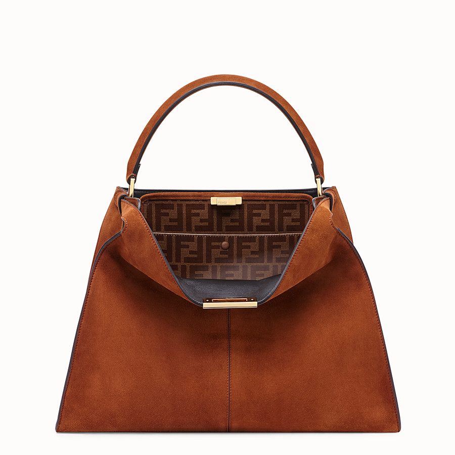 FENDI PEEKABOO X-LITE - Brown suede bag - view 2 detail