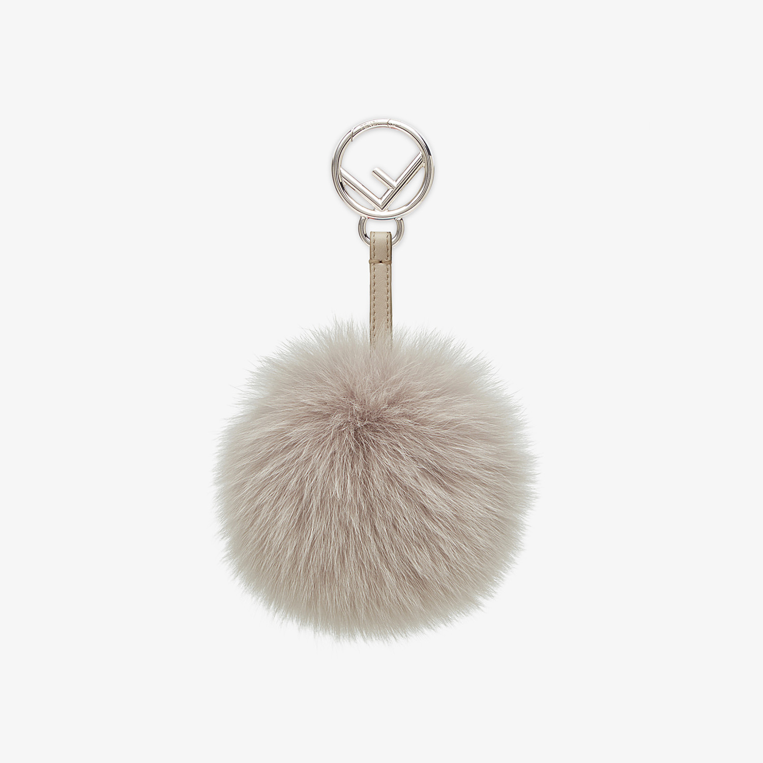 FENDI POM-POM CHARM - Charm in pearl-gray fur - view 1 detail