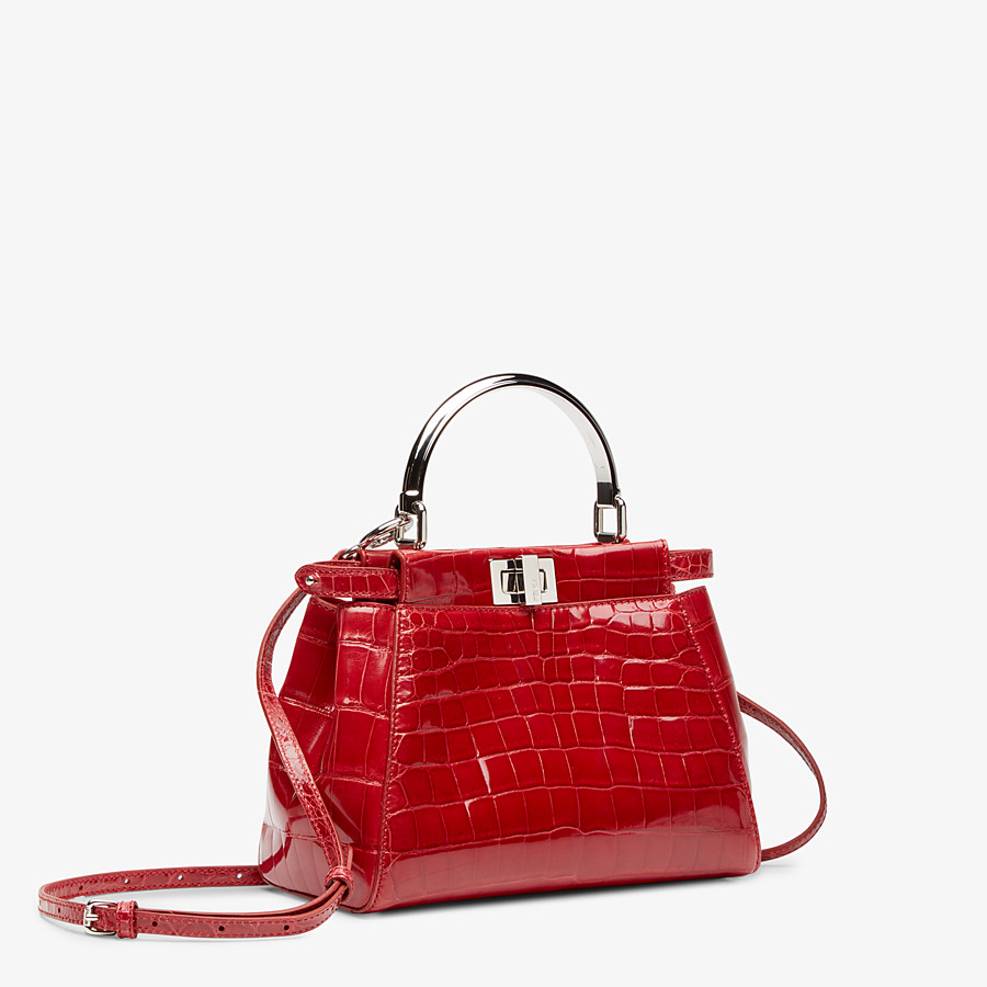 FENDI PEEKABOO ICONIC MINI - Red crocodile handbag - view 2 detail
