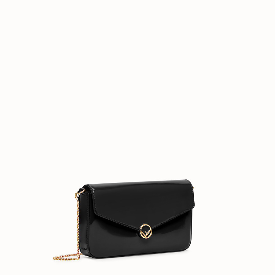 FENDI WALLET ON CHAIN WITH POUCHES - Mini bag in black patent - view 3 detail