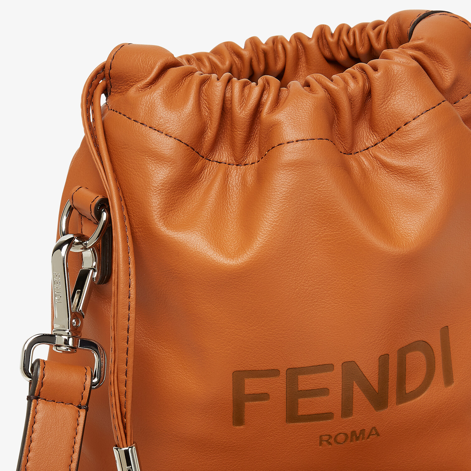 FENDI FENDI PACK SMALL POUCH - Brown leather bag - view 5 detail