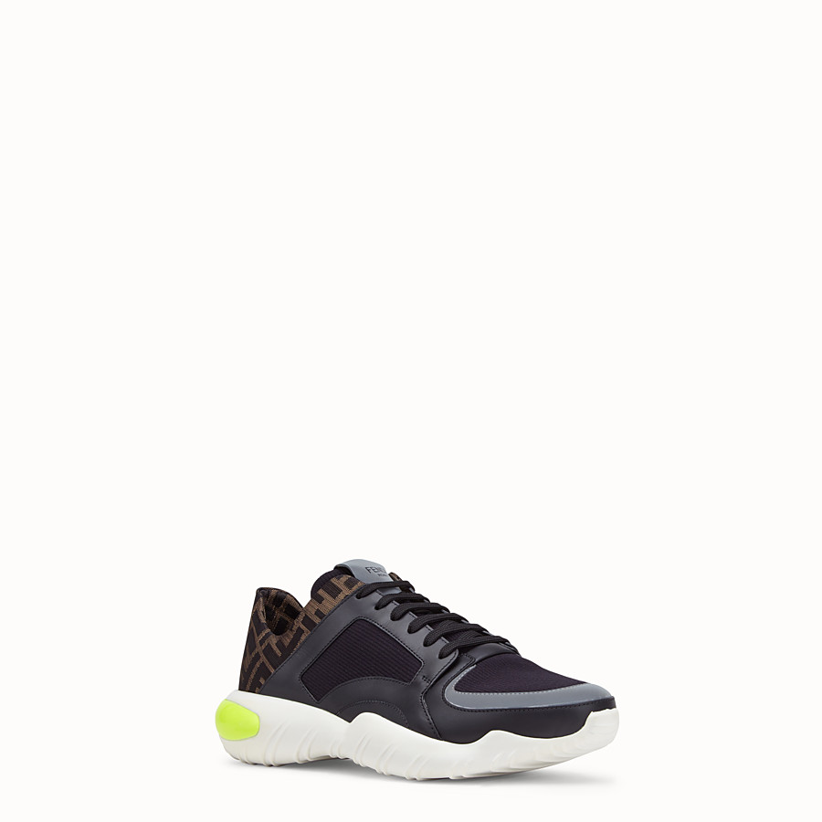 FENDI SNEAKERS - Black tech fabric low-tops - view 2 detail
