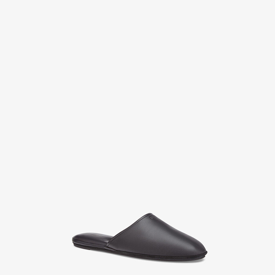 FENDI SLIPPERS - Black nappa leather mules - view 2 detail