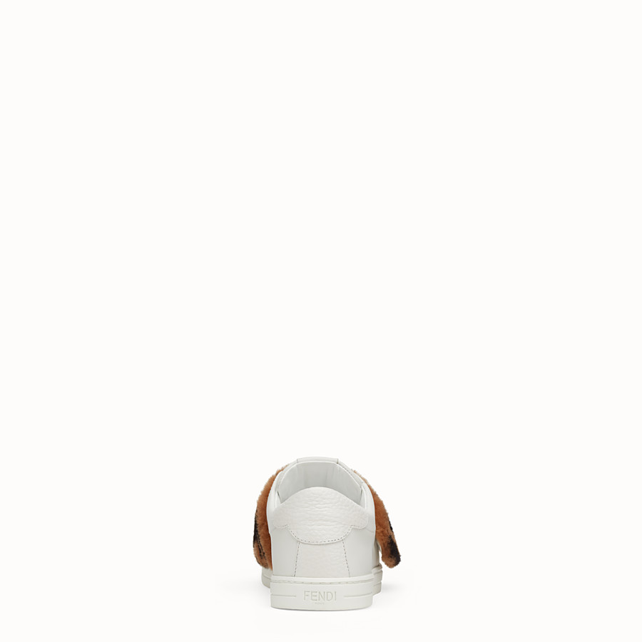 FENDI SNEAKERS - Chaussures sans lacets en cuir blanc - view 3 detail