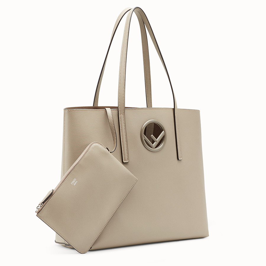 FENDI LOGO SHOPPING - Sac shopping en cuir beige - view 2 detail