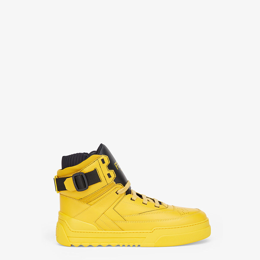 FENDI SNEAKERS - Yellow leather high-tops - view 1 detail
