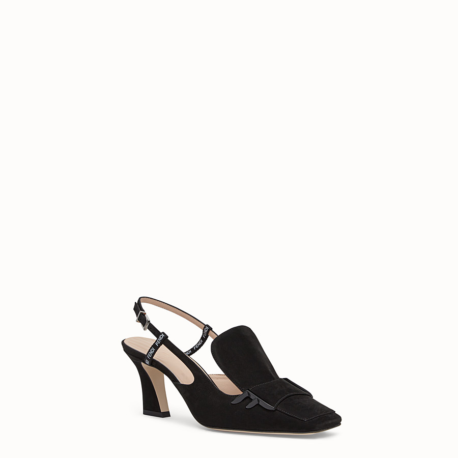 FENDI COURT SHOES - Black nubuck slingbacks - view 2 detail