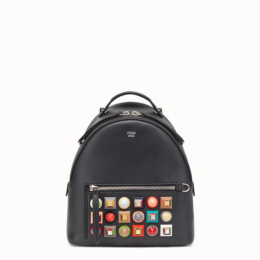 FENDI MINI BACKPACK - in black leather with studs - view 1 detail