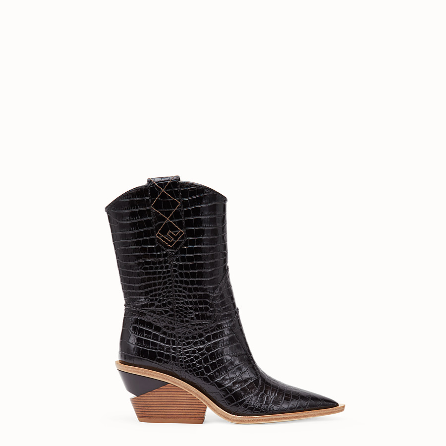 FENDI BOOTS - Black crocodile-embossed ankle boots - view 1 detail