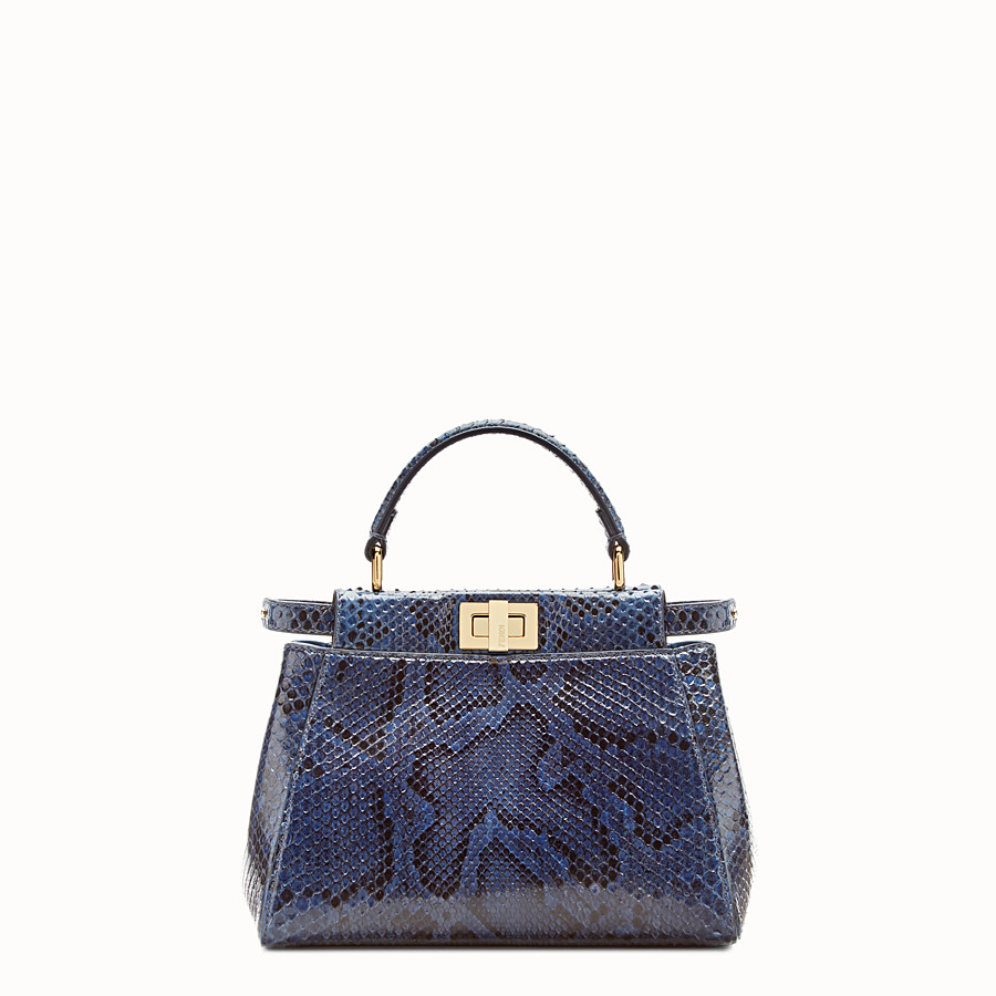 FENDI PEEKABOO MINI - sac à main en python bleu - view 1 detail