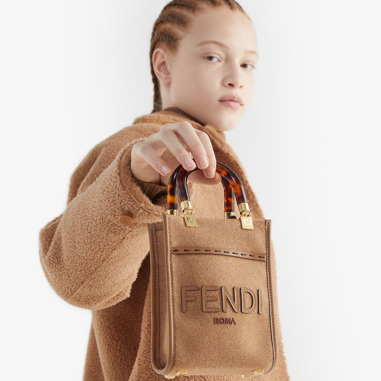 FENDI MINI SUNSHINE SHOPPER - Brown flannel mini-bag - view 2 detail