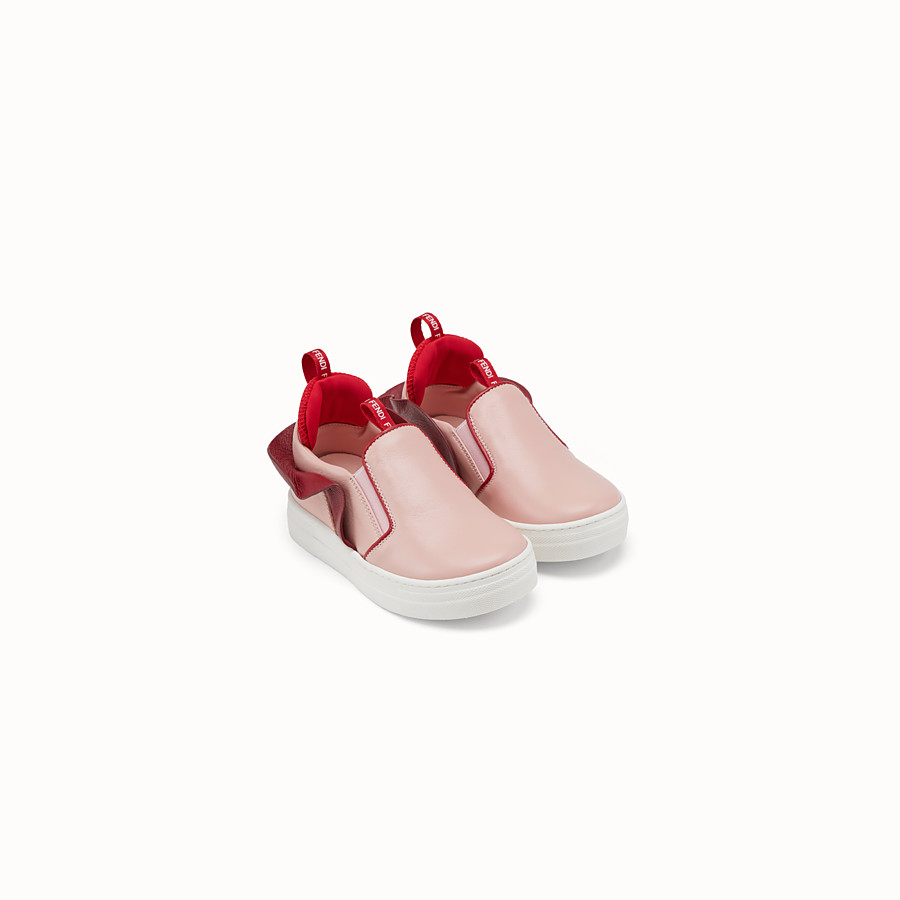 FENDI SLIP-ON SHOES - Pink leather first steps slip-on shoes - view 2 detail