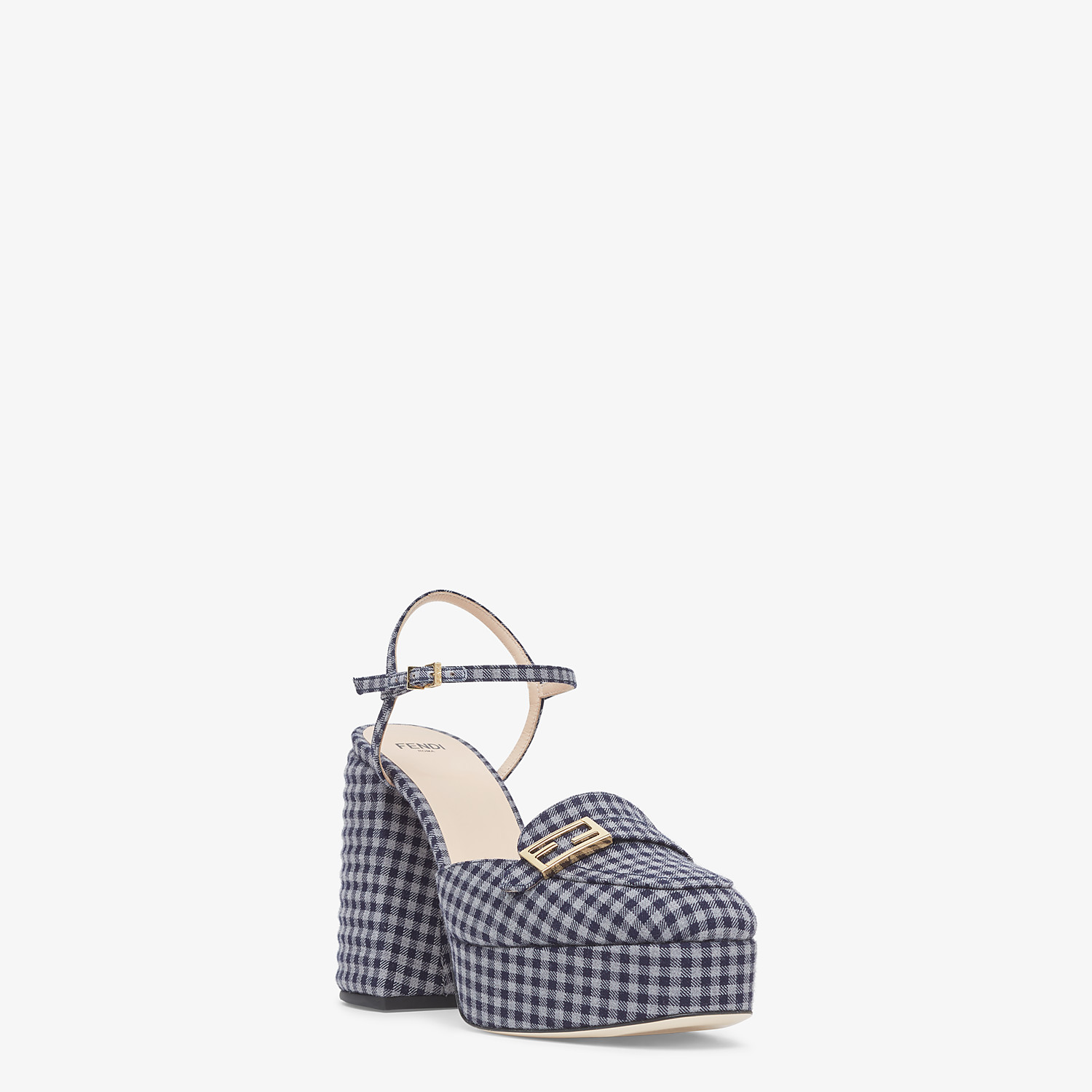 FENDI PROMENADES - Gray Vichy fabric platform loafers - view 2 detail