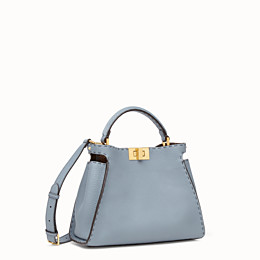 FENDI PEEKABOO ICONIC ESSENTIALLY - Light blue leather bag - view 2 thumbnail