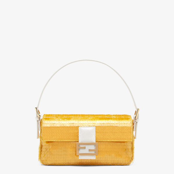 Yellow satin bag with sequins