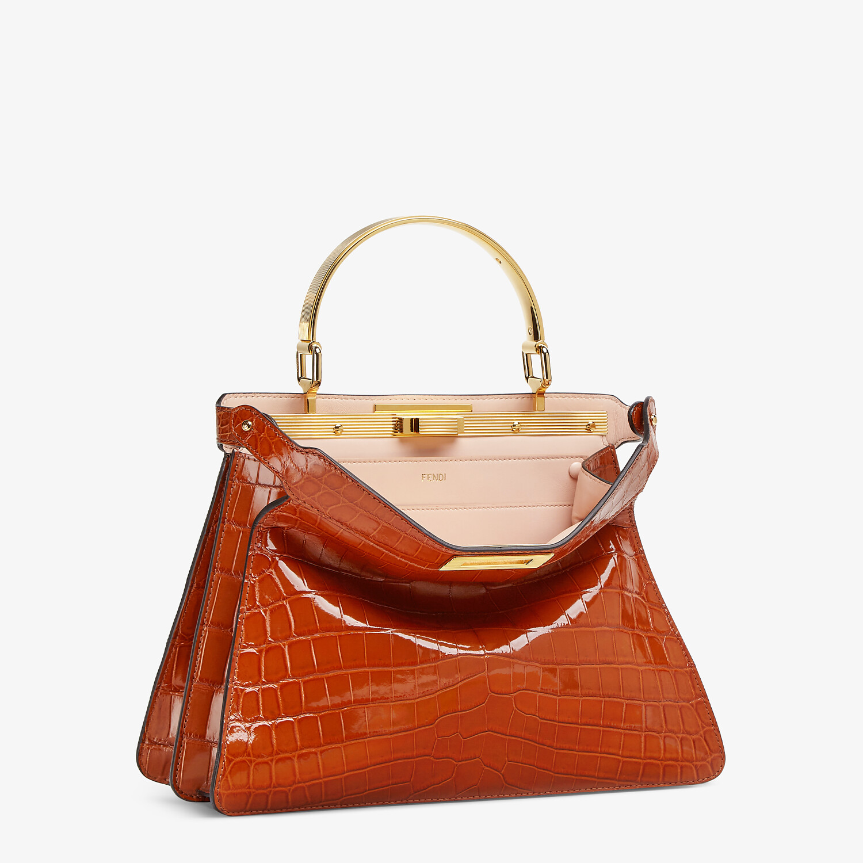 FENDI MEDIUM PEEKABOO I SEE U - Brown crocodile leather bag - view 5 detail