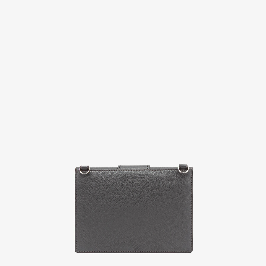 FENDI FLAT BAGUETTE - Gray leather bag - view 3 detail
