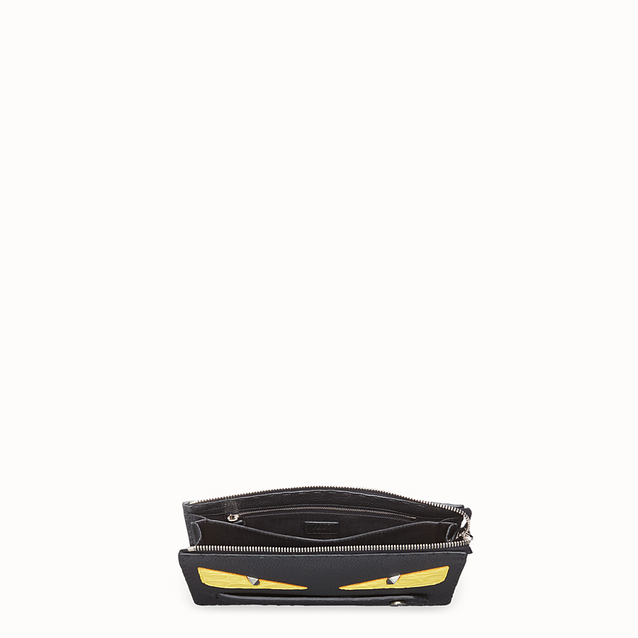 FENDI CLUTCH - Black Roman leather pochette with exotic leather details - view 4 detail