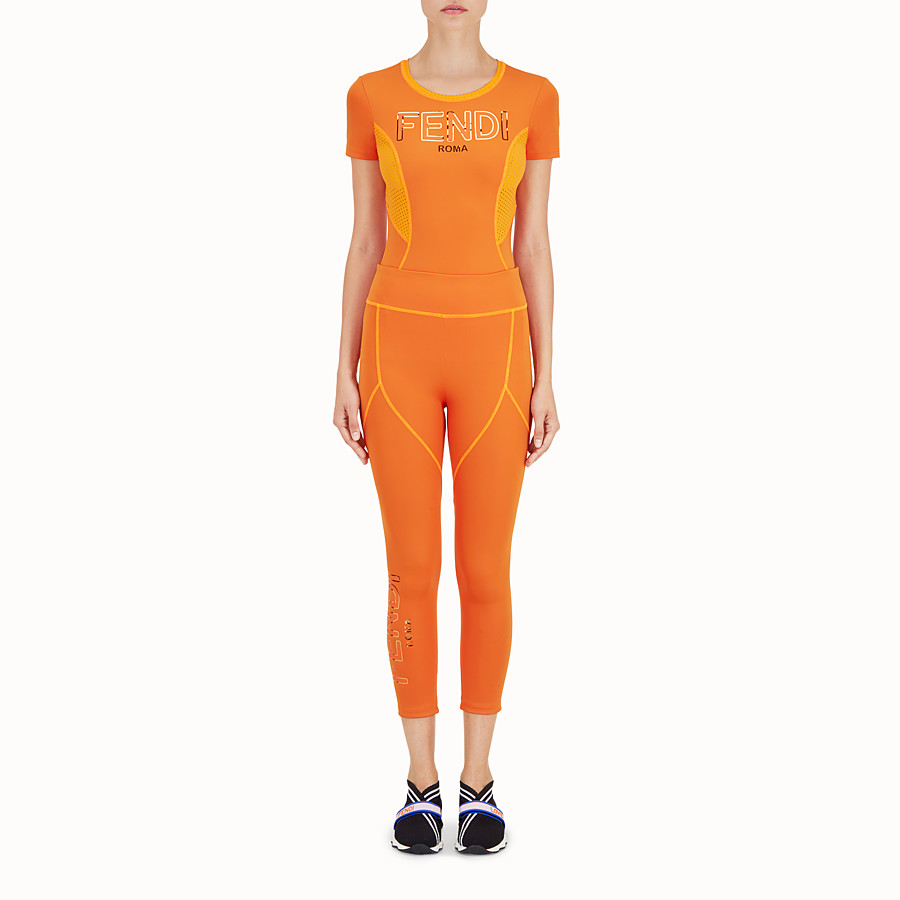 FENDI LEGGINGS - Orange tech fabric trousers - view 2 detail