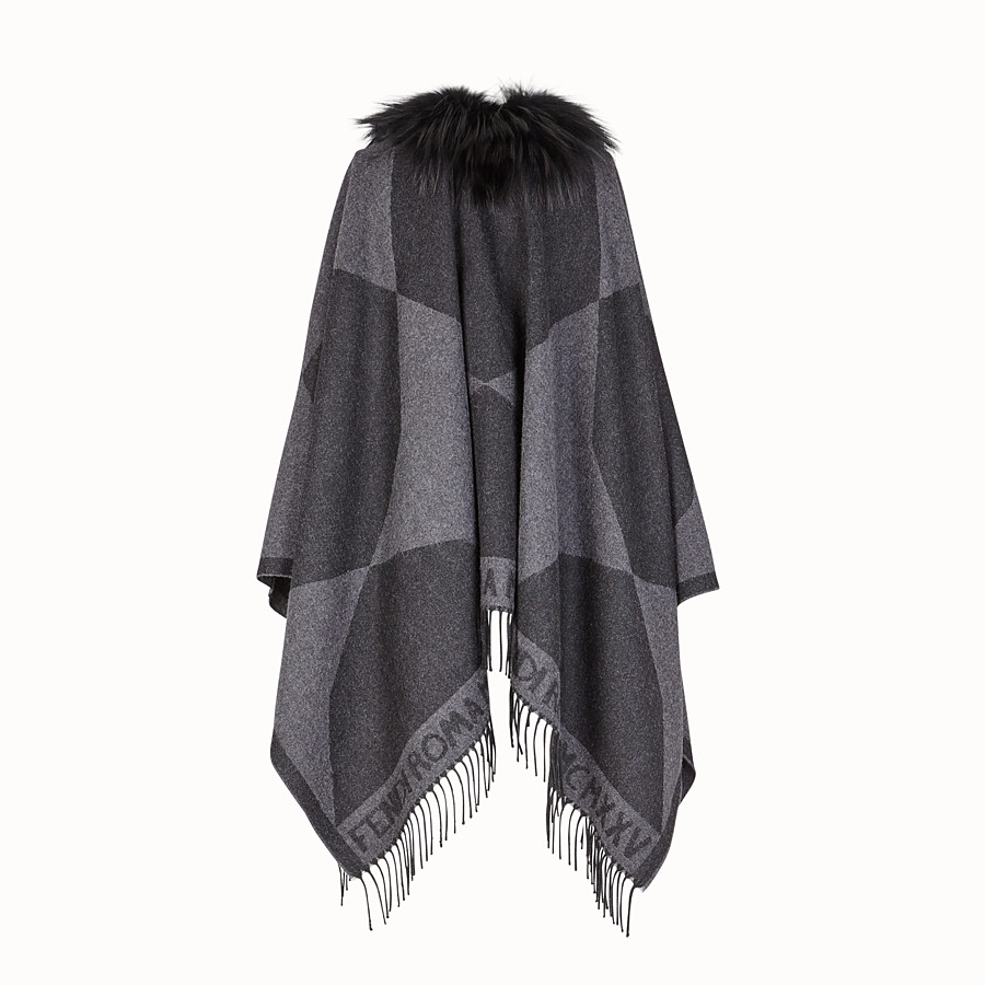 FENDI TOUCH OF FUR PONCHO - Black wool poncho - view 2 detail
