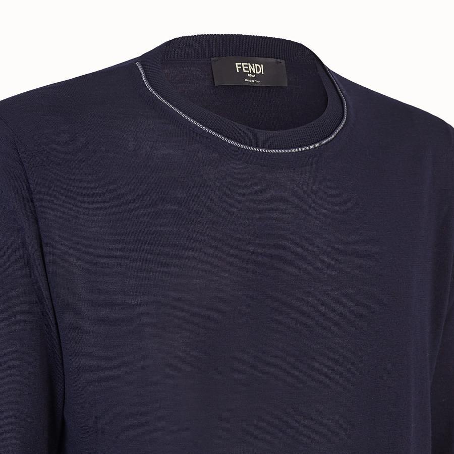 FENDI PULLOVER - Maglia in cachemire, lana e seta blu - vista 3 dettaglio