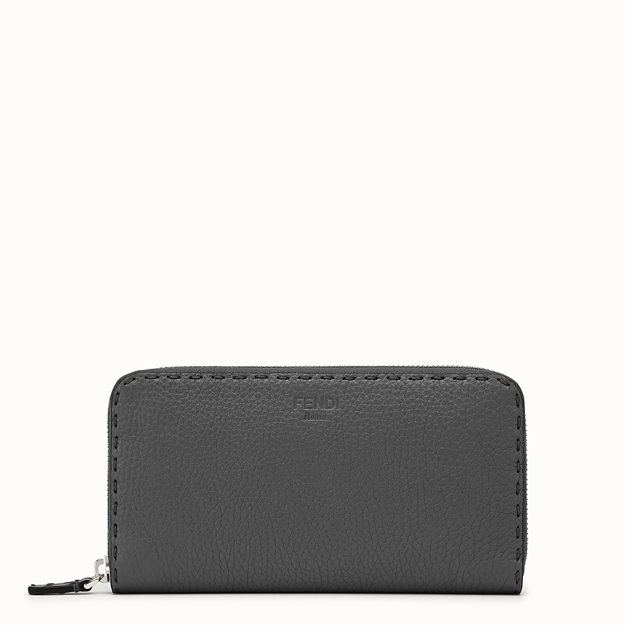 FENDI WALLET - Zip-around in grey Roman leather - view 1 detail