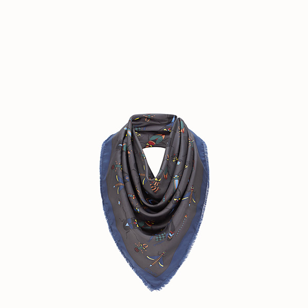 FENDI KEFFIYEH - Grey silk scarf - view 1 small thumbnail