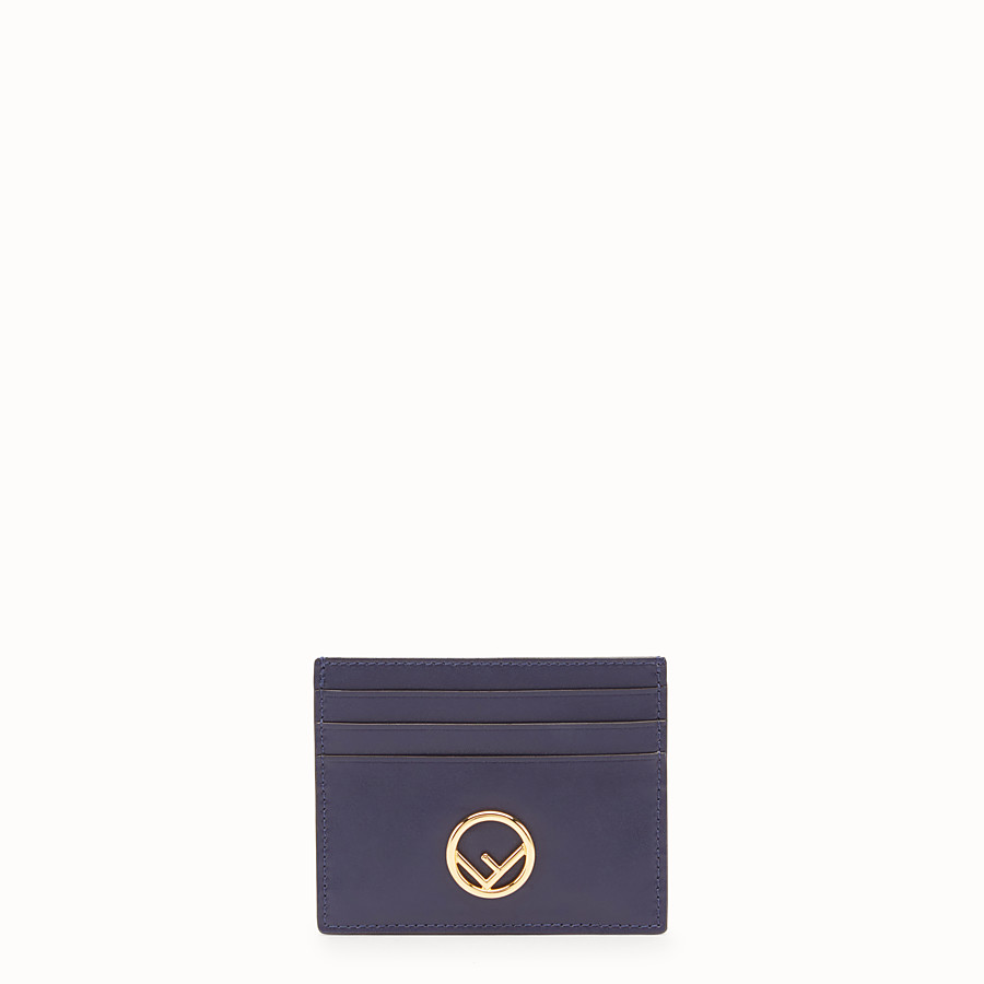 FENDI CARD HOLDER - Blue leather flat card holder - view 1 detail