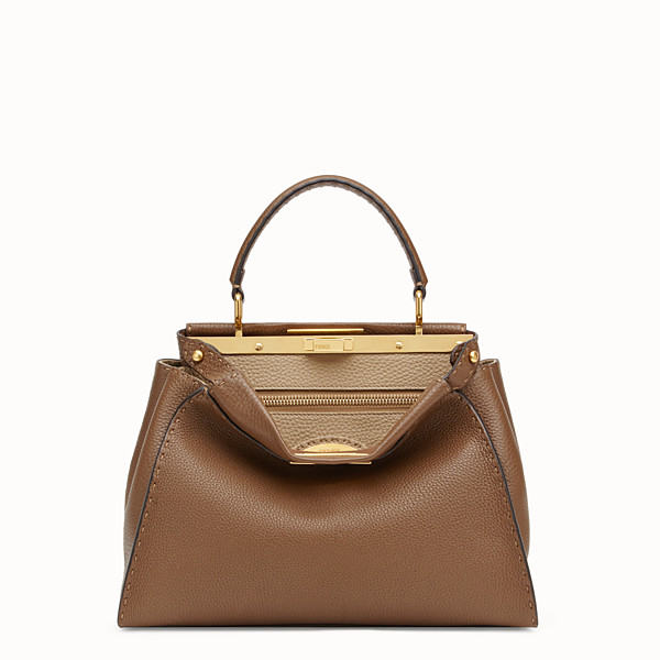 FENDI PEEKABOO REGULAR - Brown leather bag - view 1 small thumbnail