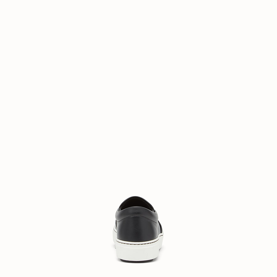 FENDI SNEAKER - Black leather slip-ons - view 3 detail