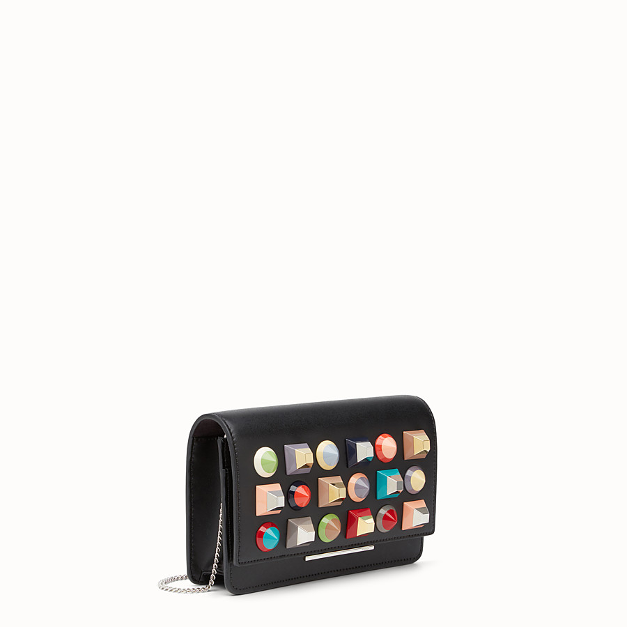 FENDI WALLET ON CHAIN - in black leather with multicoloured studs - view 2 detail