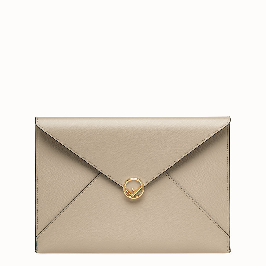 FENDI FLAT POUCH - Beige leather pouch - view 1 detail