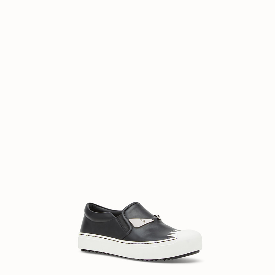 FENDI SNEAKER - Black leather slip-ons - view 2 detail