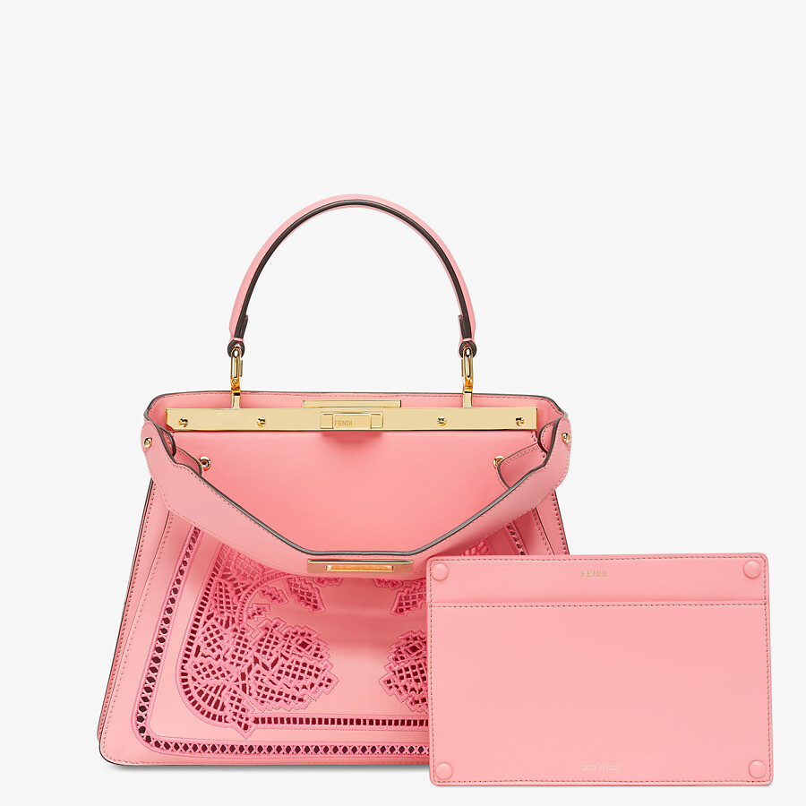 FENDI PEEKABOO ISEEU MEDIUM - Pink leather bag with embroidery - view 3 detail