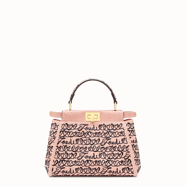 FENDI PEEKABOO MINI - Pink python leather bag - view 1 small thumbnail