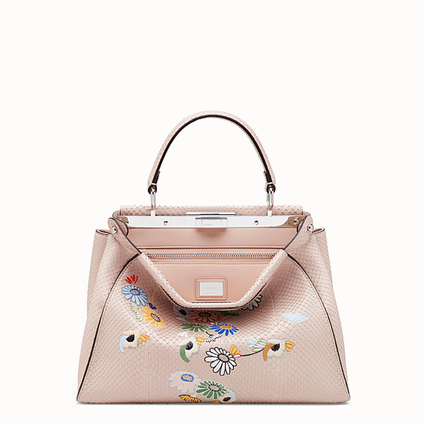 FENDI PEEKABOO REGULAR - Borsa in pitone rosa - vista 1 thumbnail piccola
