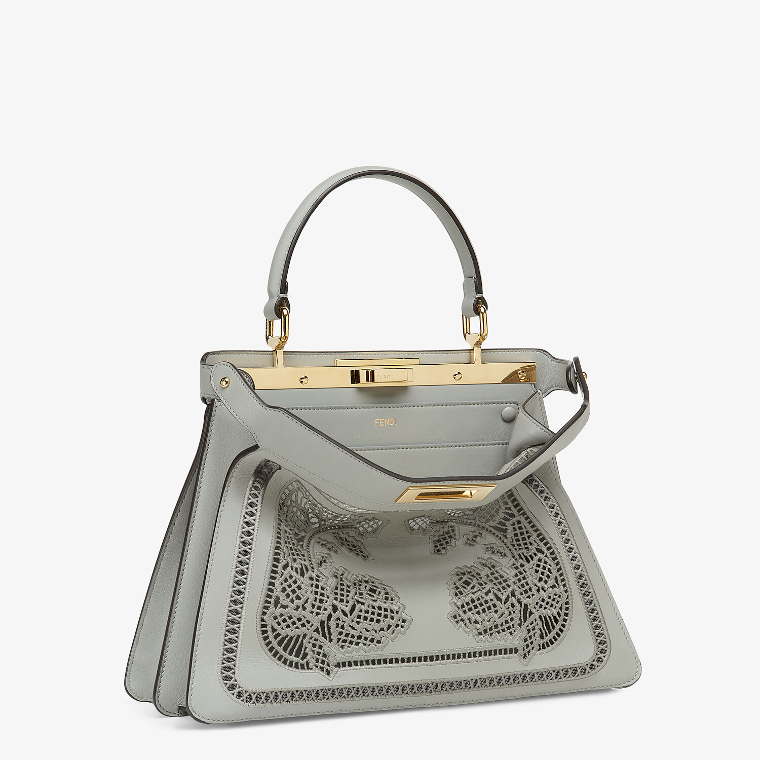 FENDI PEEKABOO ISEEU MEDIUM - Embroidered gray leather bag - view 5 detail