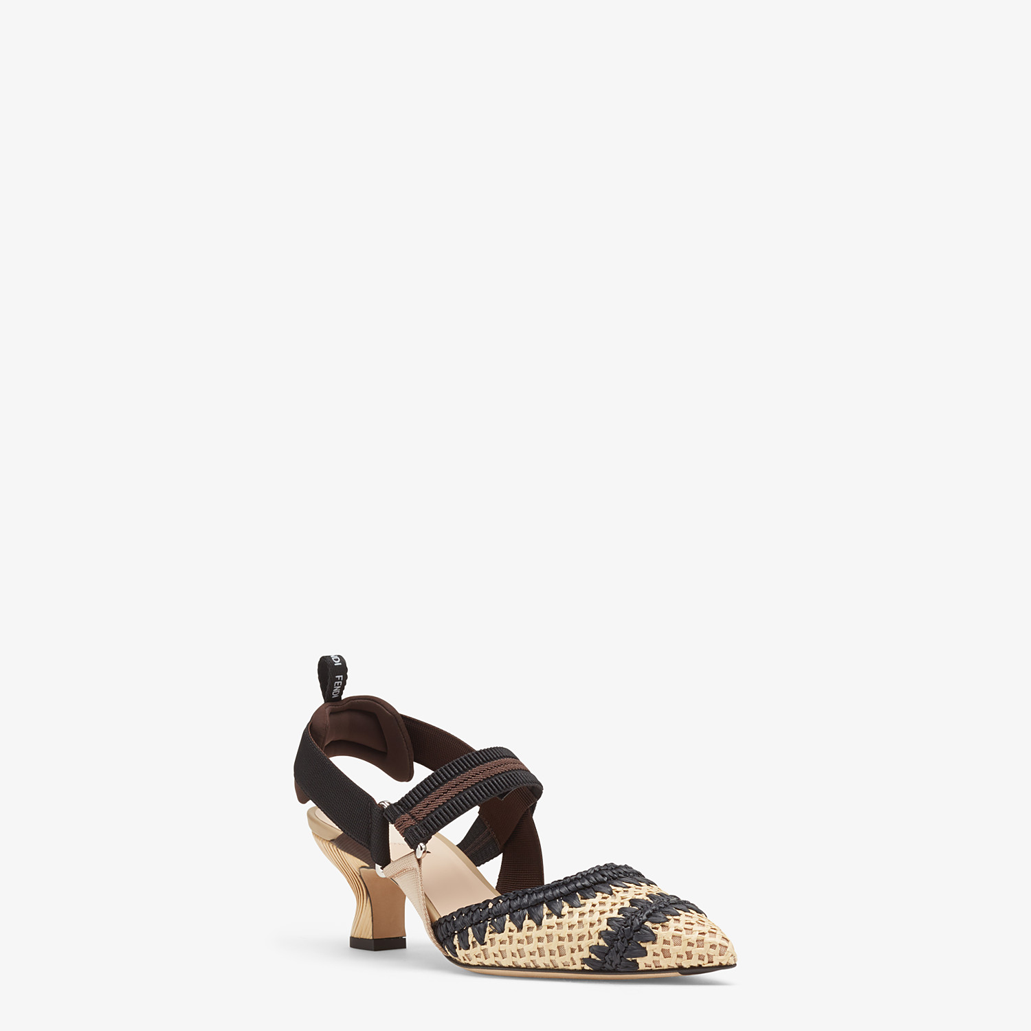 FENDI SLINGBACKS - Black raffia Colibrì slingbacks - view 2 detail