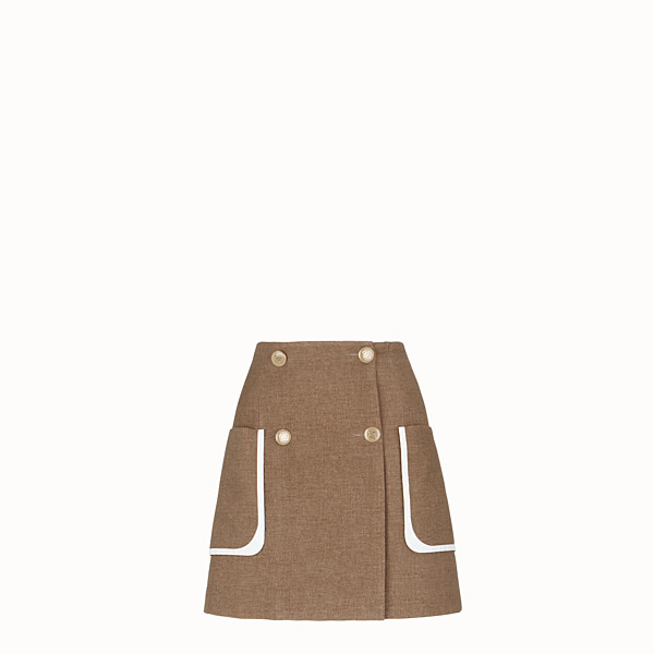FENDI SKIRT - Beige silk and wool skirt - view 1 small thumbnail