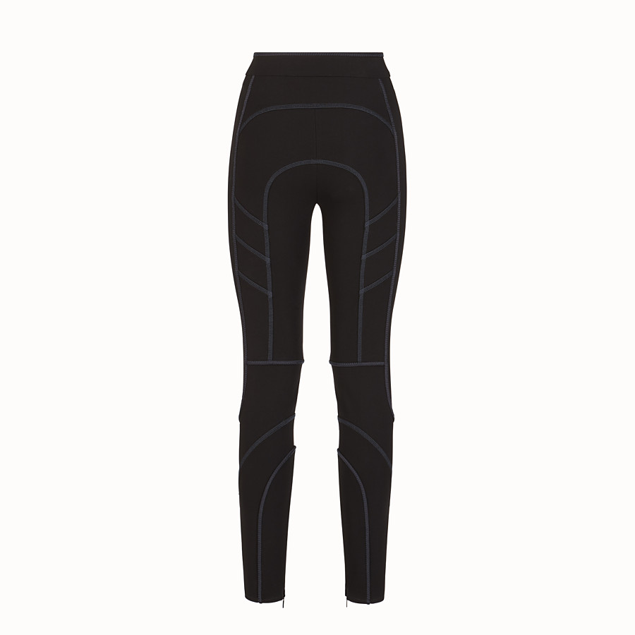 FENDI TROUSERS - Black tech fabric leggings - view 2 detail