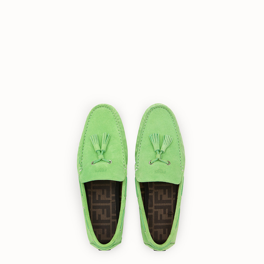 FENDI LOAFERS - Green leather drivers - view 4 detail