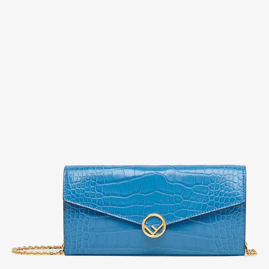 FENDI CONTINENTAL WITH CHAIN - Pale blue alligator wallet - view 1 detail