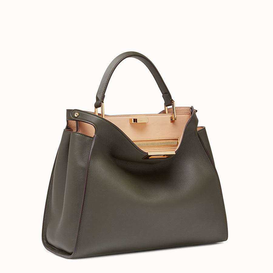 FENDI PEEKABOO ESSENTIAL - Gray-green leather handbag - view 2 detail