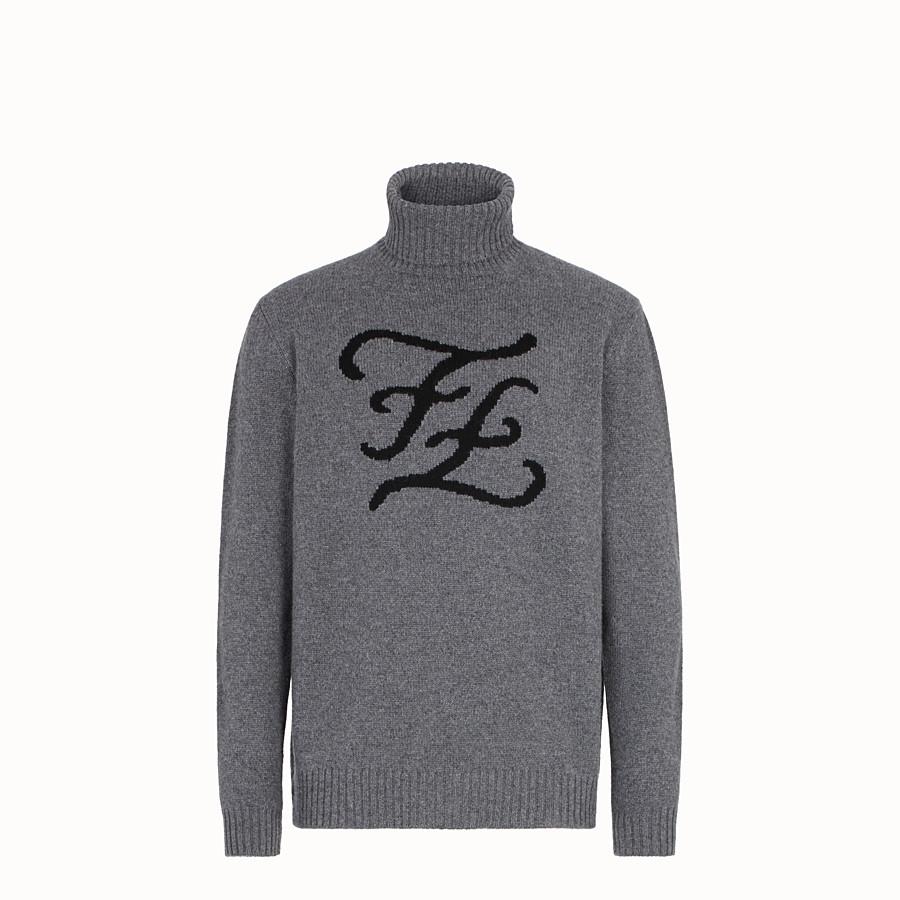 FENDI TURTLENECK - Blue cashmere jumper - view 1 detail