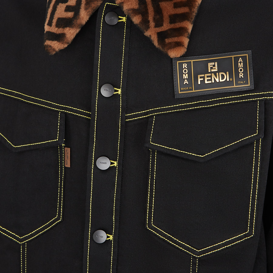 FENDI JACKET - Black denim jacket - view 3 detail