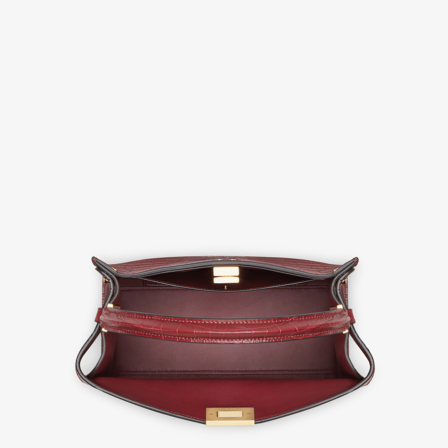 FENDI PEEKABOO X-LITE MEDIUM - Burgundy crocodile leather bag - view 5 detail
